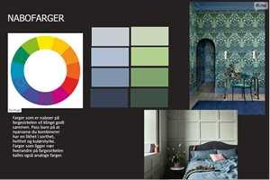 Moodboard basert på Ittens prinsipp om analoge farger/nabo farger blått og grønt