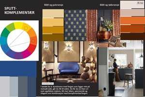 Moodboard basert på Ittens prinsipp om splittkomplementære farger