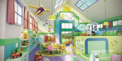I denne barnehagen er det brukt New-Arstyl, noe som har gitt gode muligheter for lek med farger.