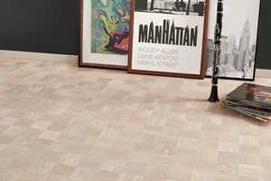 <b>VARM BEIGE: </b>«Noble Eik Manhattan», som består av ruter på 9,5x9,5 cm, endrer nyanser fra eggeskall til varm beige, som gir et moderne og eksklusivt uttrykk.