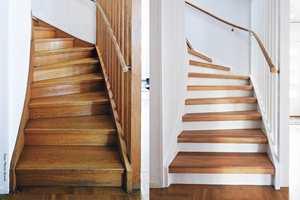 <b>GOD SOM NY:</b> Før og etter er som natt og dag. Med ferdige trappetrinn som monteres enkelt, blir trappa igjen et smykke i huset.