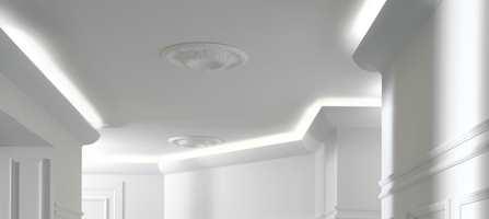 Visste du at lyskilden kan ligge skjult bak lyslister? Deco Systems leverer flere slike løsninger.