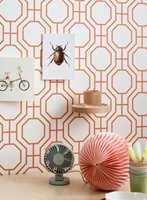 Oransje kan med fordel benyttes i mønster. Her vist i tapetet Trellis fra Storeys.