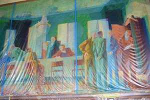 Harald Dals gruppeportrett av det første formannskapet i Christiania er godt tildekket.