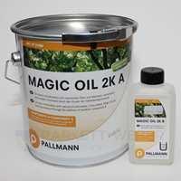 Magic Oil 2K er en blanding av olje og voks. Dette to-komponentproduktet vil gi en lekker og robust overfalte, og ifølge Uzin Uts Group Norge AS vil resultatet bli som polert betong.