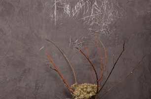 Kalkmalingen består av en blanding av kalk og naturlige fargepigmenter som gir en unik struktur på veggen.
