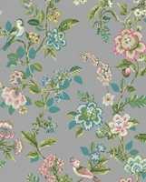 <b>PIP:</b> Det populære designet Pip fra Eijjfinger kommer i mange ulike design og bunnfarger. Her sirlig «malte» blomster på en dus grå bunn. Føres av Storeys.