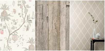 <b>TAPET:</b> Basisfargene er like, men med ulike mønster skapes forskjellig stil og stemning. Tapetet til venstre er Hidden Garden fra Storeys, midten er også fra Storeys og til høyre er Colourful Living fra Borge.