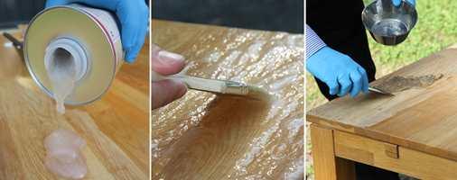 <b>STEG 4, 5 og 6:</b> Hell på litt lakkfjerner og pensle på. Når det har fått virke lenge nok, skraper du det bort med en plastskrape.
