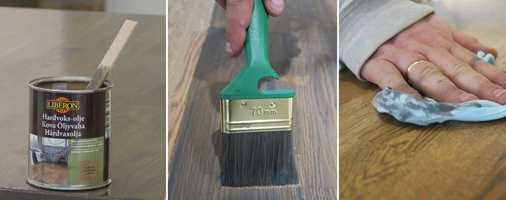 <b>STEG 7, 8 og 9:</b> Når bordet er tørt og rent igjen, finner du fram hardvoksoljen. Så pensler du på. Tørk av med klut.