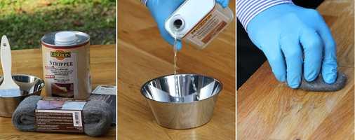 <b>STEG 1, 2 og 3:</b> Finn fram alt du trenger av utstyr, hell litt møbelrens over i en bolle og rengjør med stålull og rens.