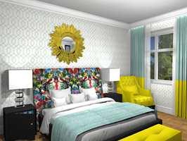 Interiørarkitekt MNIL Camilla Bentzen hos Ramsøskar Interiørarkitekter har utarbeidet et forslag til soverom i hotellstil ved hjelp av et 3D-visualiseringsverktøy, og beviser at sterke fargeinnslag ikke er en motsetning til en harmonisk atmosfære. Legg merke til minibaren integrert i nattbordet! Puffen ved benenden bygger også oppunder hotellinntrykket.