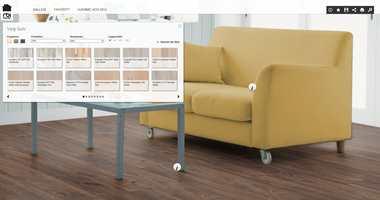 Sett farge på vegger og møbler også, for å se bedre hvordan gulvet står til interiøret.