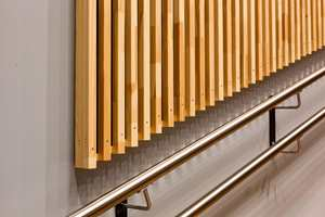 <b>TRESPILER:</b> Trespilene som pryder veggen er furu som har vokst opp ved Mjøsa. Ved trappen i auditoriet er sideveggen malt i en gråblå tone. Bak trespilene er det montert akustikkduk, som bidrar til godt lydmiljø i rommet.
