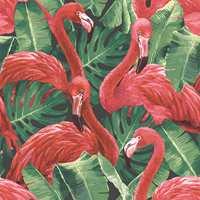 <b>FLAMINGO:</b> Med røde flamingoer mot grønne planter blir uttrykket livlig og eksotisk. Tapet Global Fusion fra Fantasi Interiør.