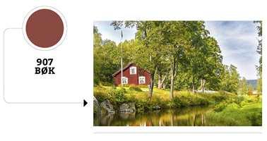 Rødt hus, malt i farge Bøk fra Gjøco