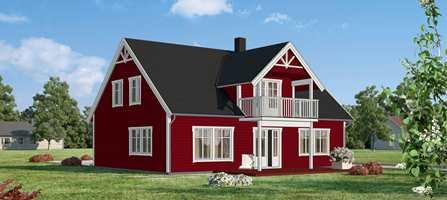 Ifi.no har latt fire malermestere fargesette et og samme hus. Malermester Renate Fiskergård Øien valgte en dyp rødfarge, og lyst grå staffasje.