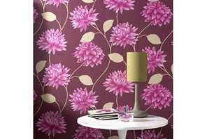 Store mønstre krever ofte sterke farger. Kolleksjonen Serenity fra Borge inneholder flere store blomsterdesign for fondvegger, og mange ensfargede tapeter som brukes i kombinasjon med disse for å skape helhet i rommet og boligen.