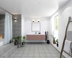 <b>BADEROM:</b> Trendy med rosa på badet, en myk motvekt mot hvitt og grått.