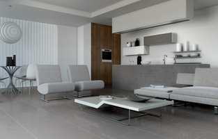Elegant: Store grå fliser med struktur.