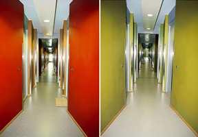 Fargesetting etter etasjene. På gulvene er det benyttet Tapiflex Akustikk fra Tarkett Sommer