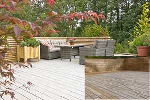 <b>FORVANDLING: </b>Kun etter få uker ble den gulvbrune terrassen stilig grå. (Fotomontasje)