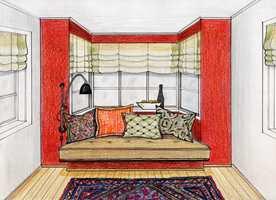 Intimitet: Varmrødt er et gjennomgangstema og skaper varme blant de nøytrale naturtonene. Det harmonerer både med orientteppet og puter i avstemte mønstre. Her gjør det karnappveggen til flott blikkfang. Formen er utnyttet med en ny, spesiallaget sittebenk. En sittebenk er bygd litt frem fra veggen for å gi ekstra dybde for en spesialsydd madrass. Her har vinduene fått liftgardiner i samme linkvalitet som i den andre enden av stuen, kantet med en mørkere nyanse.