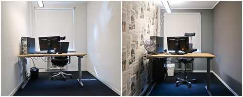 <b>FØR OG NÅ:</b> Før var det hvitt og hardt. Nå er kontoret blitt et kreativt senter.