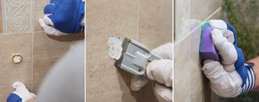 <b>1-2-3:</b> Så lett er det å fjerne limte detaljer fra flisene. 1. Skjær. 2. Skrap bort. 3. Vask av.