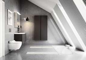 <b>STILRENT:</b> Grått, sort og hvitt, kombinert med elegante, enkle linjer, gir et eksklusivt og godt baderom. (Foto: Geberit)