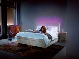 Belysningen kan brukes for å skape ekstra trivsel på soverommet.