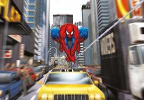 Mange barn vil elske å ha Spiderman på veggen. Dette tapetet heter, Spiderman Rush Hour.