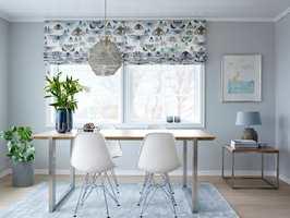 <b>LIFT:</b> Ønsker du gardin og vegg farge som matcher, lønner det seg å finne stoffet først. (Foto: Per Erik Jæger, Styling: Tale O. Henningsen)