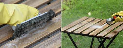 <b>STEG 1 OG 2:</b> Start med å vaske bordet. Deretter skyller du det. (Foto: Robert Walmann/ifi.no)