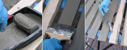 <b>STEG 5, 6 og 7:</b> Rull på maling og slett med fordriver. Mal sidene med en trekantpensel. (Foto: Robert Walmann/ifi.no)