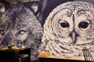 Egetepper hadde digitaltrykkede tepper med intense nærbilder av ulv, ugler og elg.