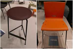 <b>LINOLEUM:</b> Linoleum er mer enn gulv. Materialet brukes som overflate på både kjøkkeninnredninger og møbler. Trendy og miljøvennlig, og kjennes nesten ut som lær.