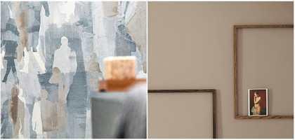 <b>FARGEVALG:</b> Går du for de gråblå tonene eller de beige? Valget er ditt! Tapet fra Tapethuset kombinert med maling fra Flügger.