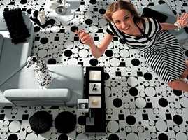 Trendy design - i sort og hvitt med retro-mønstre.