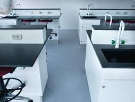 To farger innen gulvkolleksjonen har el-avledende egenskaper som passer til et laboratorium.