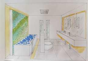 Tegningen til Åse Imset viser hvordan toalettet kan plasseres midt på gulvet. Badekaret har fossefall.