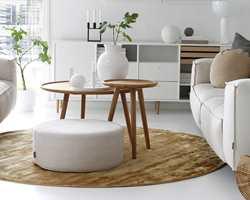 <b>RUNDT:</b> Den runde moten har også spredd seg til tepper. Dette runde teppet er fra InHouse Group.
