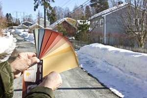 <b>FARGEVIFTEN:</b> Se fargene mot nabohusene og den gråhvite snøen før du velger.