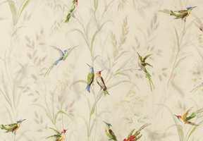 Hos INTAG fant vi tapet og tekstiler fra Thibaut med fargerike fugler blant siv og blomster.