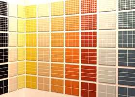 En kolleksjon som viser sterke fargeinnslag i seks forskjellige mønstre i samme størrelse flis. (Höganäs)