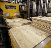 Her påmonteres trefinér på korkunderlaget og blir til Wood-O-Floor.