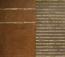 Utstilling i terrakotta-flis og lærimage med dekor i en av årets trendfarger, nemlig gull. (Inalco og MegaFlis)