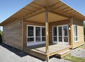 Fra utstilling i Moelven med to moduler koblet sammen til et mindre hus.