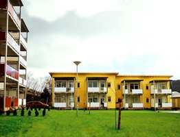 Størrelse på nybygg av moduler fra Nylandshagen i Ålesund - med rekkehus og leilighetsbygg.