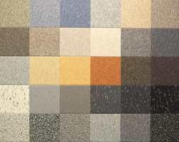 Fra en ny kolleksjon linoleum i banevare, først og fremst beregnet på offentlige miljøer. De tilpassete fargekombinasjonene gir også her mulighet til å designe et gulv. (Artoleum fra Forbo)